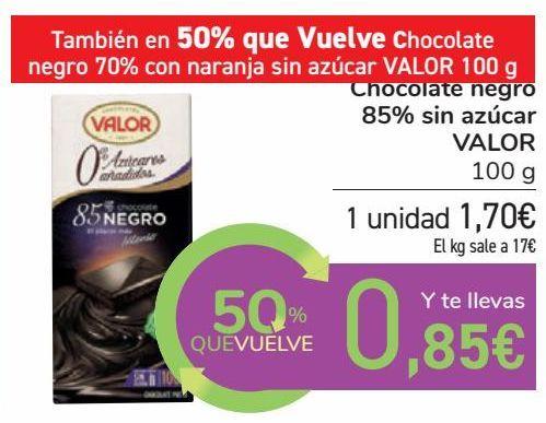 Oferta de Chocolate negro 85% sin azúcar VALOR por 1,7€