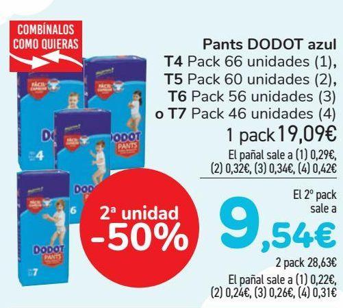 Oferta de Pants DODOT Azul T4, T5, T6 o T7  por 19,09€