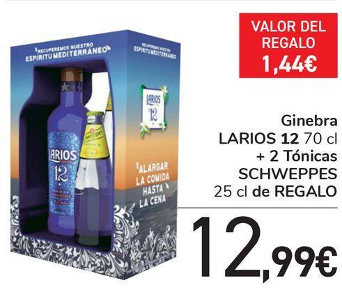 Oferta de Ginebra LARIOS 12 + Tónicas SCHWEPPES de regalo  por 12,99€