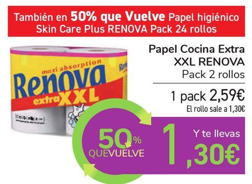 Oferta de Papel Cocina Extra XXL RENOVA  por 2,59€