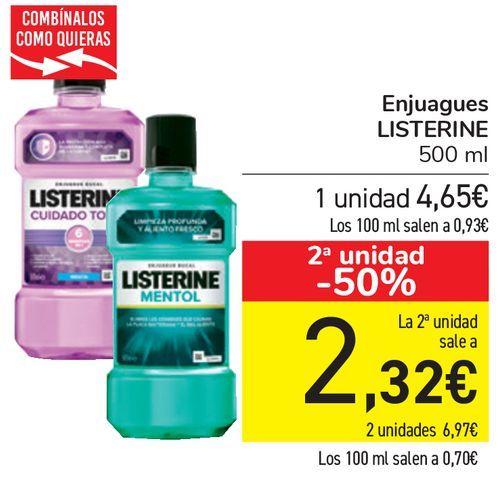 Oferta de Enjuagues LISTERINE  por 4,65€