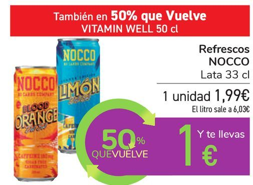 Oferta de Refrescos NOCCO por 1,99€