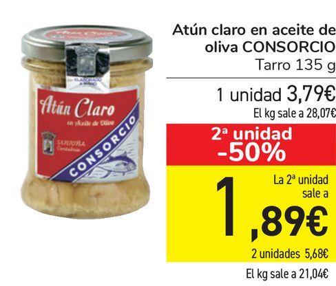 Oferta de Atún claro en aceite de oliva CONSORCIO  por 3,79€