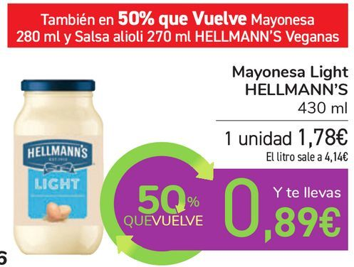 Oferta de Mayonesa Light HELLMANN'S por 1,78€