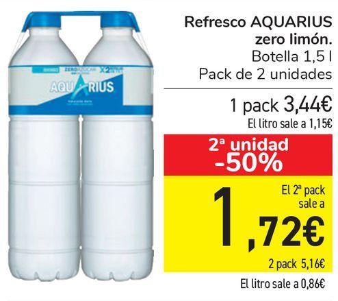 Oferta de Refresco AQAURIUS Zero limón  por 3,44€