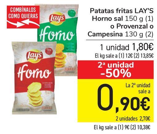 Oferta de Patatas fritas LAY'S Horno sal o Provenzal o Campesina  por 1,8€