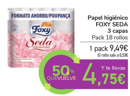 Oferta de Papel higiénico FOXY SEDA 3 capas por 9,49€