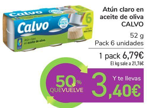 Oferta de Atún claro en aceite de oliva CALVO por 6,79€