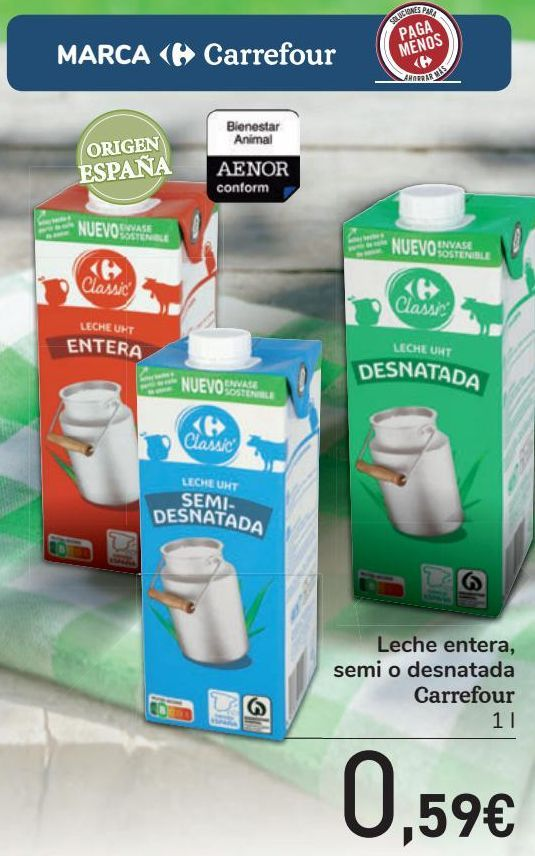 Oferta de Leche entera, semi o desnatada Carrefour  por 0,59€
