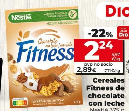 Oferta de Cereales Fitness de chocolate con leche Nestlé por 2,89€