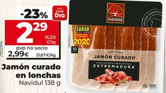 Oferta de Jamón curado Navidul por 2,29€