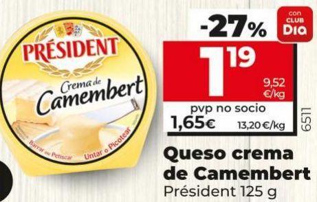 Oferta de Crema de queso Président por 1,19€
