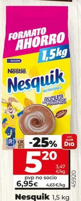 Oferta de Cacao soluble Nesquik por 5,2€