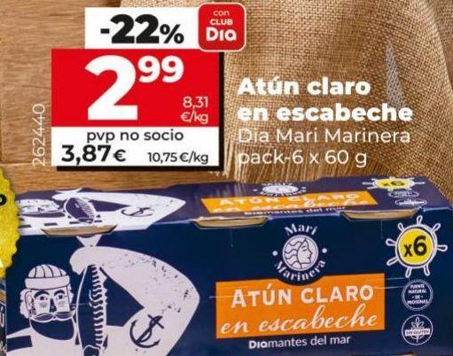 Oferta de Atún en escabeche Dia por 2,99€