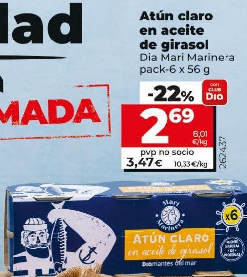 Oferta de Atún en aceite de girasol Dia por 2,69€