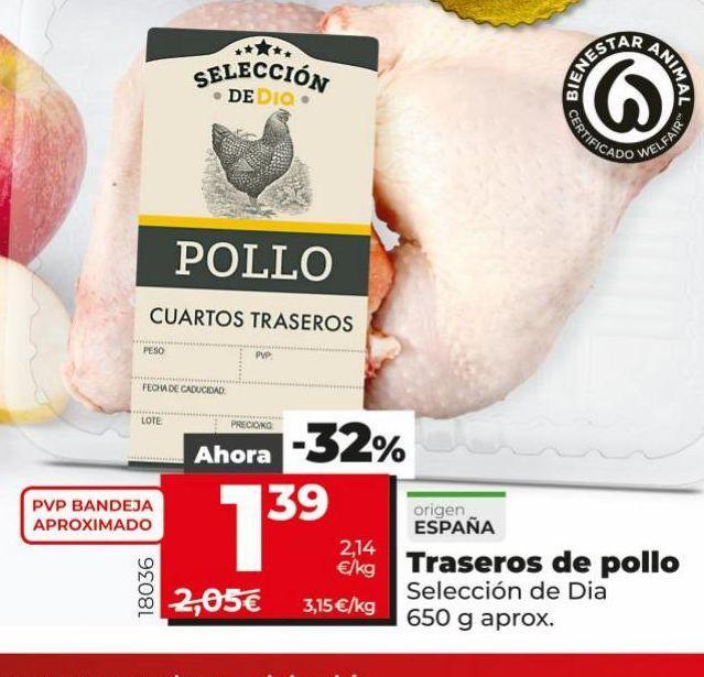 Oferta de Traseros de pollo DIA por 1,39€