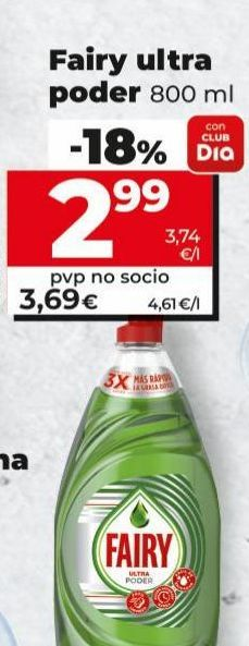 Oferta de Detergente lavavajillas Fairy por 2,99€