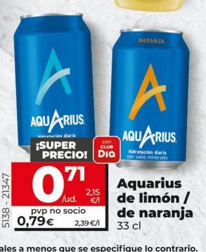 Oferta de Refrescos de limón/de naranja  Aquarius por 0,71€