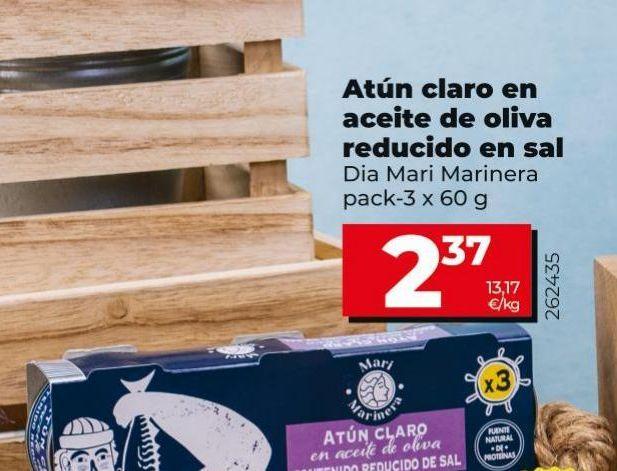 Oferta de Atún claro en aceite de oliva reducido en sal Dia por 2,37€