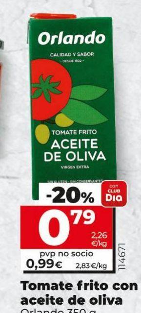 Oferta de Tomate frito con aceite de oliva Orlando por 0,79€