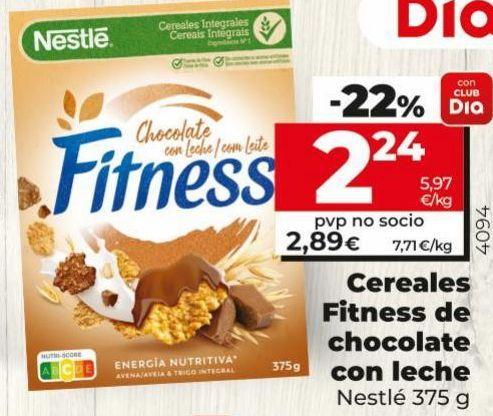 Oferta de Cereales Fitness de chocolate con leche  Nestlé por 2,24€
