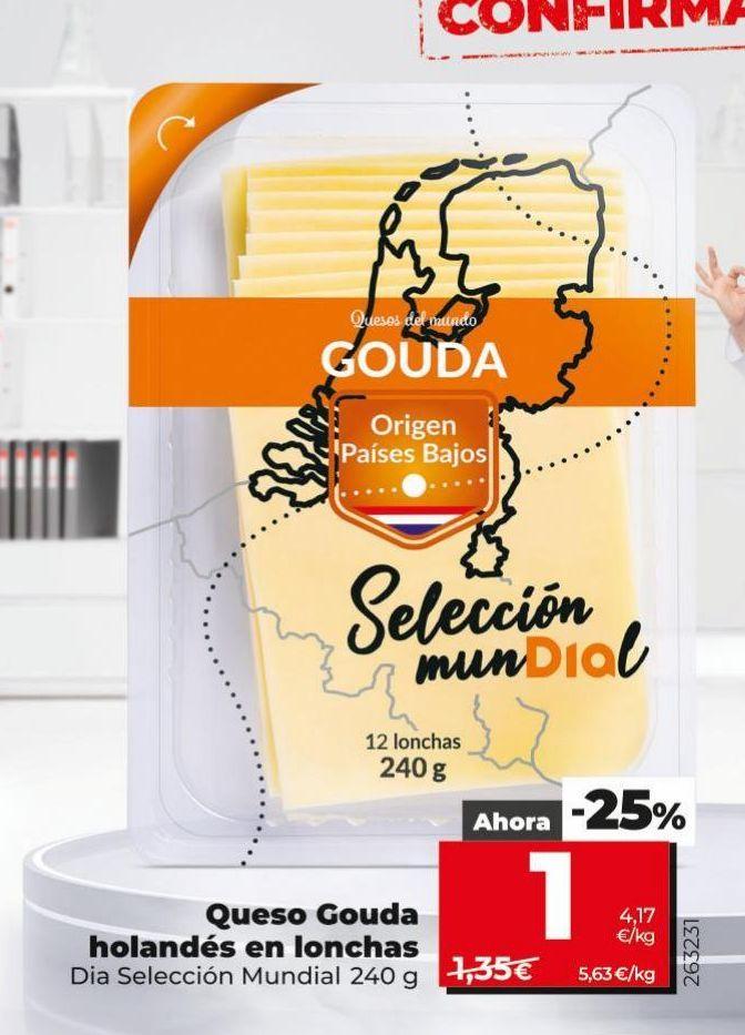 Oferta de Queso gouda holandés en lonchas  Dia por 1€