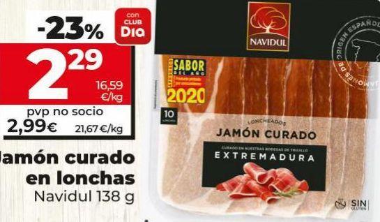 Oferta de Jamón curado en lonchas Navidul por 2,29€