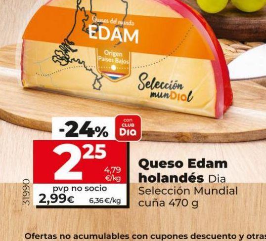 Oferta de Queso edam holandés Dia por 2,25€