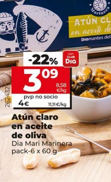 Oferta de Atún claro en aceite de oliva Dia por 3,09€