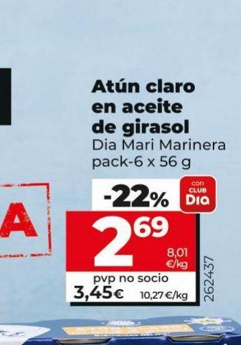 Oferta de Atún claro en aceite de girasol Dia por 2,69€