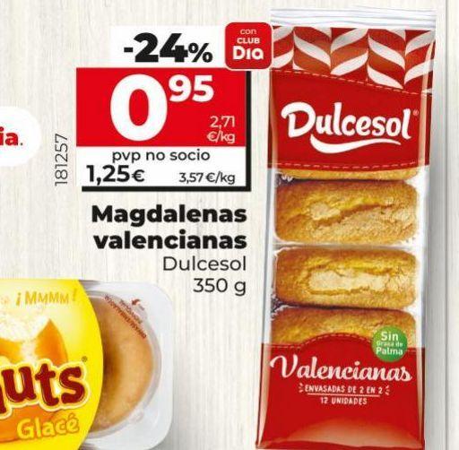 Oferta de Magdalenas valencianas Dulcesol por 0,95€