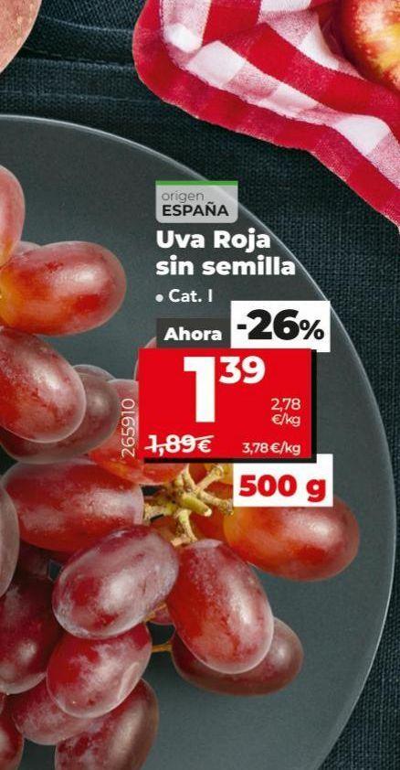Oferta de Uvas roja sin semilla por 1,39€