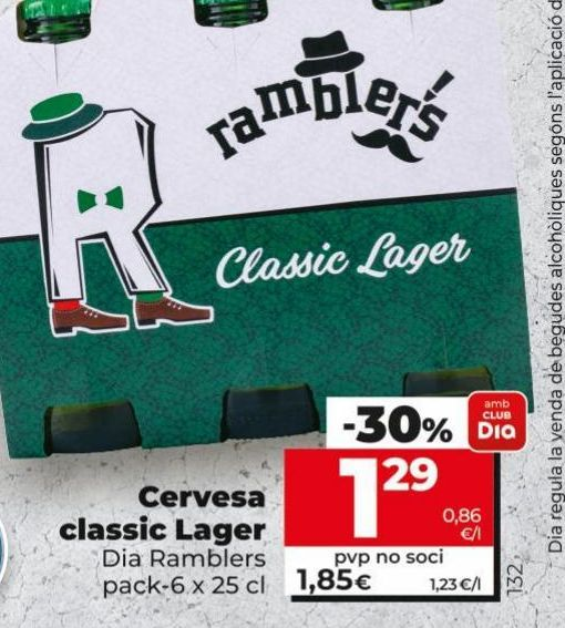 Oferta de Cerveza classic lager Dia por 1,29€