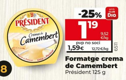 Oferta de Queso crema de camembert Président por 1,19€