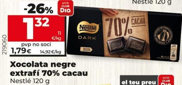 Oferta de Chocolate negro extrafino 70% caco Nestlé por 1,32€