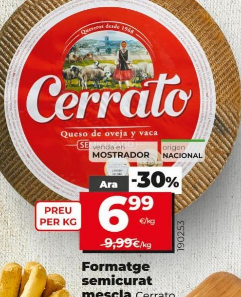 Oferta de Queso mezcla semicurado Cerrato por 6,99€