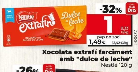 Oferta de Chocolate extrafino relleno con dulce de leche Nestlé por 1€