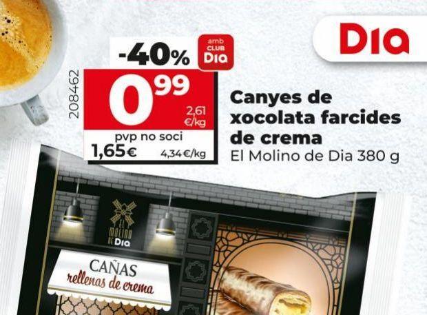 Oferta de Cañas de chocolate rellenas de crema  por 0,99€