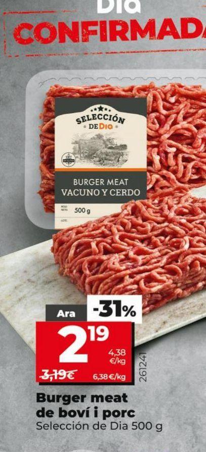 Oferta de Burguer meat de vacuno y cerdo  por 2,19€