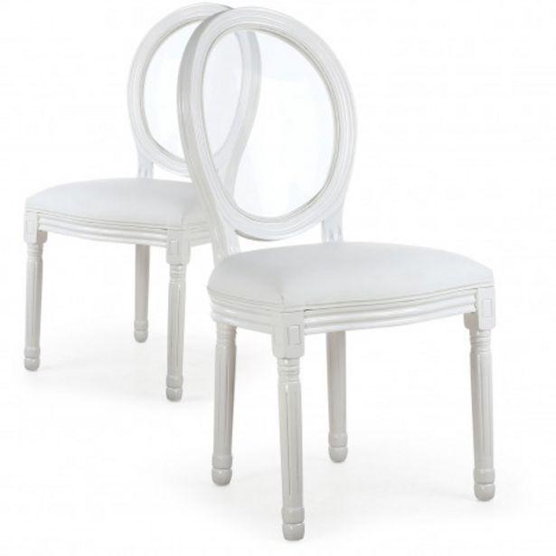 Oferta de Pack de 2 sillas Medallón estilo Luis XVI glass blanca por 58€