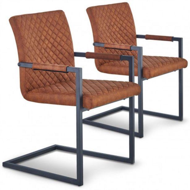 Oferta de Pack de 2 sillas Kansas tela marrón vintage por 155€