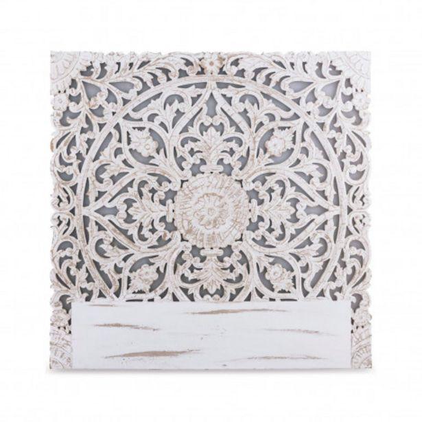 Oferta de Cabecero Serena para cama 135 madera tallada blanca por 2€