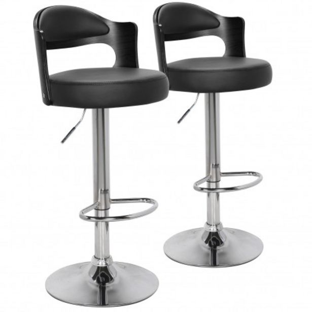 Oferta de Pack de 2 sillas de bar Ruben en madera negra con asiento en PU negro por 18€