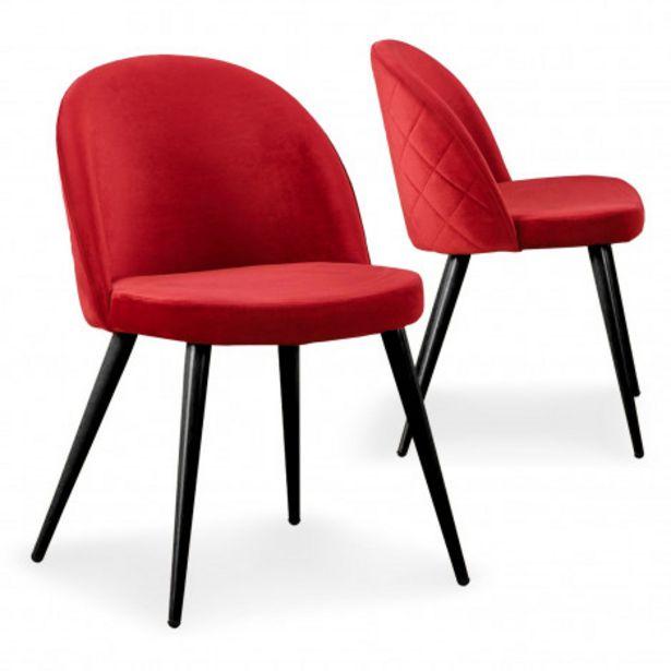 Oferta de Pack de 2 sillas Tartan Novo terciopelo rojo vivo patas negras por 20€