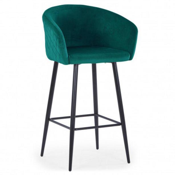 Oferta de Silla de bar Bobby terciopelo verde patas negras por 125€