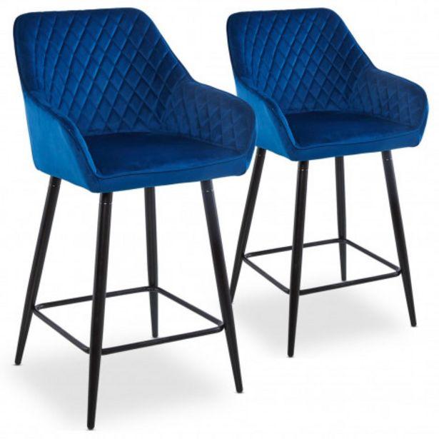 Oferta de Pack de 2 sillas de bar Veronika terciopelo azul patas negras por 185€