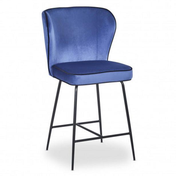 Oferta de Silla de bar Elsa terciopelo azul patas negras por 139€