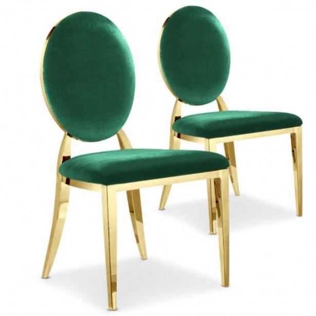 Oferta de Pack de 2 sillas Sofia terciopelo verde patas doradas por 269€
