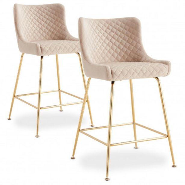 Oferta de Pack de 2 sillas de bar Bellamy terciopelo beige patas doradas por 199€