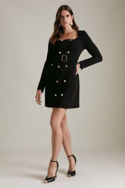 Oferta de Compact Viscose Tux Sleeved Belted Dress por 236€